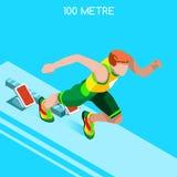 Correndo 100 medidores de traço do grupo do ícone dos jogos do verão do atletismo Conceito da velocidade atleta 3D isométrico Esp Fotos de Stock