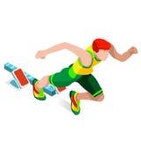 Correndo 100 medidores de traço do grupo do ícone dos esportes dos Olympics do atletismo Conceito da velocidade atleta 3D isométr Foto de Stock