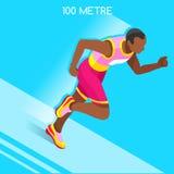 Correndo 100 medidores de traço do grupo do ícone dos jogos do verão do atletismo Conceito da velocidade atleta 3D isométrico Esp Fotografia de Stock