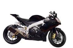 Correndo motocicletta nera isolata immagini stock libere da diritti
