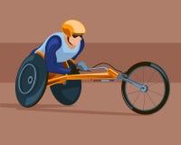 Correndo sulla sedia a rotelle di sport Fotografie Stock Libere da Diritti