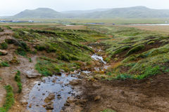 Corrente calda ad area geotermica in Islanda Fotografia Stock