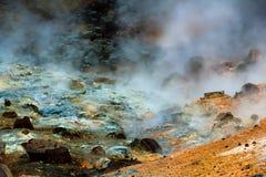 Corrente calda ad area geotermica in Islanda Fotografie Stock Libere da Diritti
