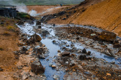 Corrente calda ad area geotermica in Islanda Fotografia Stock Libera da Diritti