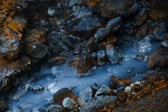 Corrente calda blu in Islanda Fotografia Stock Libera da Diritti