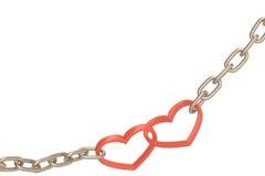 A corrente de aço com dois juntou-se a corações vermelhos no fundo branco 3D mim Fotografia de Stock Royalty Free