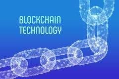 Corrente de bloco Moeda cripto Conceito de Blockchain corrente do wireframe 3D com blocos digitais Molde editável de Cryptocurren Fotografia de Stock Royalty Free