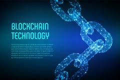 Corrente de bloco Moeda cripto Conceito de Blockchain corrente do wireframe 3D com blocos digitais Molde editável de Cryptocurren ilustração do vetor