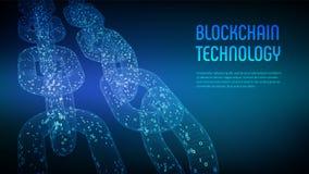Corrente de bloco Moeda cripto Conceito de Blockchain corrente do wireframe 3D com código digital Molde editável de Cryptocurrenc ilustração do vetor