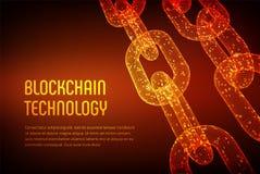 Corrente de bloco Moeda cripto Conceito de Blockchain corrente do wireframe 3D com código digital Molde editável de Cryptocurrenc Fotos de Stock