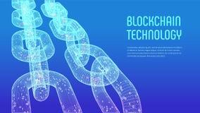 Corrente de bloco Moeda cripto Conceito de Blockchain corrente do wireframe 3D com código digital Molde editável de Cryptocurrenc Fotografia de Stock
