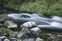 Corrente del fiume con paesaggio delle rocce con un fondo dell'erba fotografia stock libera da diritti