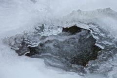 Corrente dell'acqua sotto ghiaccio Fotografia Stock
