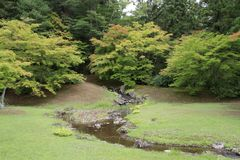 Corrente dell'alimentatore del tempio di Motsu in Hiraizumi fotografie stock libere da diritti