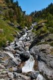 Corrente dell'alta montagna che scorre fra le rocce Immagini Stock Libere da Diritti