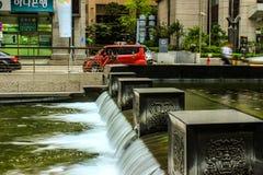Corrente di Cheonggyecheon, Seoul, Corea del Sud Fotografie Stock