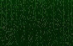 Corrente di codice della matrice Schermo verde di codici di dati, flusso di numeri binari e vettore astratto degli schermi di fil royalty illustrazione gratis