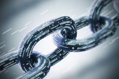 Corrente diagonal, um conceito do blockchain, close up cinzento Foto de Stock Royalty Free
