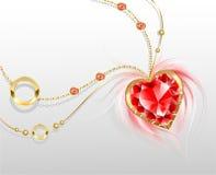 Corrente do ouro com um coração do rubi Fotos de Stock Royalty Free