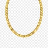Corrente do ouro isolada Colar do vetor ilustração stock