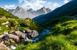 Corrente fra le rocce in valle erbosa Immagine Stock Libera da Diritti