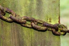 Corrente oxidada em um cargo velho da porta Imagens de Stock Royalty Free
