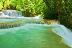 Corrente precipitante a cascata che attraversa un paesaggio della foresta pluviale Immagini Stock Libere da Diritti