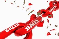 Corrente vermelha quebrada dos preços com desconto das vendas isolada - rendição 3d fotos de stock royalty free