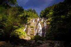 Correnti della cascata da Cliff Hidden fra le piante tropicali Fotografie Stock