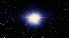 Correnti leggere in un buco nero nello spazio Salto dell'iperspazio attraverso le stelle ad uno spazio distante Particelle astrat illustrazione vettoriale