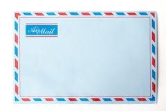 Correo aéreo azul del sobre Imágenes de archivo libres de regalías