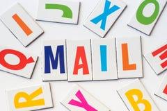 Correo de la palabra hecho de letras coloridas Imágenes de archivo libres de regalías