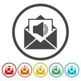 Correo de voz, símbolo del Presidente, iconos audios del mensaje fijados stock de ilustración