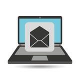 Correo del correo electrónico del sobre del ordenador portátil Fotografía de archivo