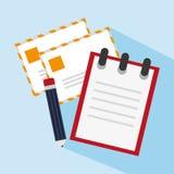 Correo del cuaderno y diseño del lápiz Imagen de archivo libre de regalías