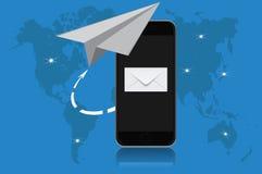 Correo electrónico, comunicación, ejemplo del vector en el diseño plano para los sitios web Imagenes de archivo