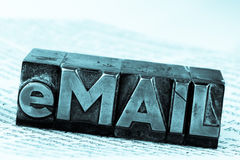 Correo electrónico escrito en letras de la ventaja Foto de archivo libre de regalías