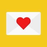 Correo electrónico plano del amor del icono Imagen de archivo