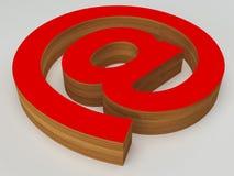 correo electrónico rojo y de madera de 3d @ en la muestra Imágenes de archivo libres de regalías