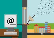 Correo electrónico y wifi stock de ilustración