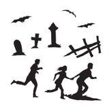 Correre della gente ed altri elementi di Halloween Fotografia Stock