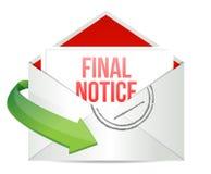 Correspondência final do correio do envelope da observação ilustração royalty free