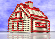 Corresponda con los bienes raices blancos e del seguro de la pista del fuego rojo de la casa Foto de archivo