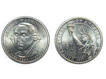 Correspondant et inverse d'une pièce de monnaie du dollar des USA George Washington avec le fond d'isolement images libres de droits