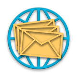 Correspondence. Mail messages in envelopes with blue globe over white background Royalty Free Stock Photography