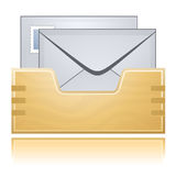 Correspondence Box And Mail. Wooden Correspondence Box And Mail Envelopes with Reflection royalty free illustration