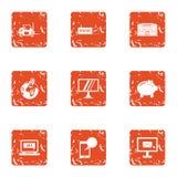 Correspondence icons set, grunge style. Correspondence icons set. Grunge set of 9 correspondence vector icons for web isolated on white background Royalty Free Stock Image