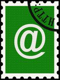 Correspondence in modern times. Illustration of postage stamp with e-mail symbol, and http stamp over it Stock Image