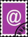 Correspondence in modern times, isolated. Illustration of postage stamp with e-mail symbol Royalty Free Stock Photography