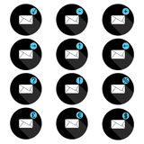 Correspondence set of icons in circle with the shadow , presenting image of the envelope and associated signs Stock Images